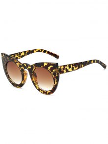 Round Lens Hawksbill Cat Eye Sunglasses - Brown