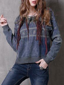 Denim Embroidered Sweatshirt