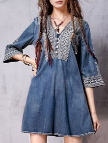 Denim Flared Bib Dress - Blue