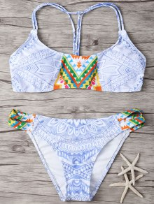 Printed Back Strappy Padded Bikini Set
