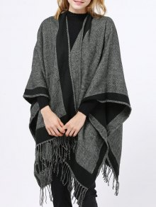 Herringbone Tassel Wrap Pashmina - Black