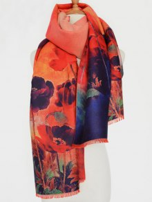 Flower Painting Fringed Scarf