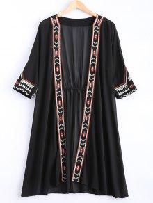 Buy Embroidered Chiffon Sunscreen Kimono Blouse - BLACK ONE SIZE