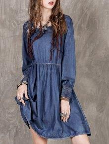 Vestido Largo De La Manga Del Dril De Algodón - Azul