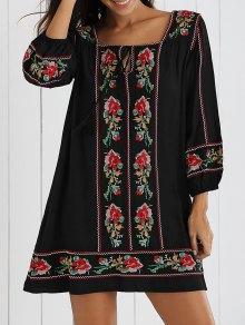 Buy Floral Embroidery Shift Mini Dress - BLACK L