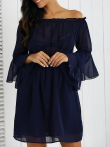 Off Shoulder Bell Sleeve Chiffon Dress - Deep Blue