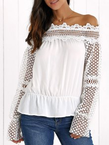 See Through Off The Shoulder Lace Blouse