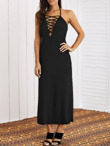 Lace-Up Halter Maxi Dress