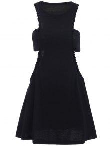 Negro Fotografica Semi Formal Mini Vestido - Negro M