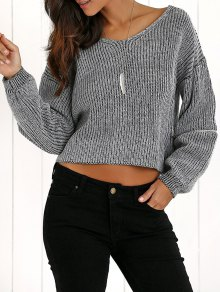 V-Neck Zipper Sleeve Pullover Sweater - Deep Gray