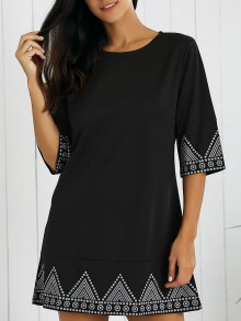 Print Round Neck Mini Dress - Black M