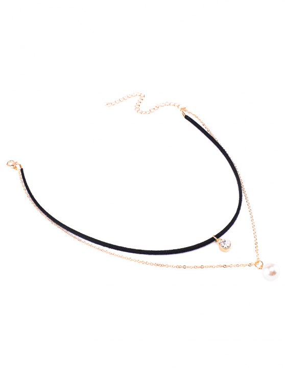 Rhinestone Faux Pearl Layered Choker - BLACK  Mobile