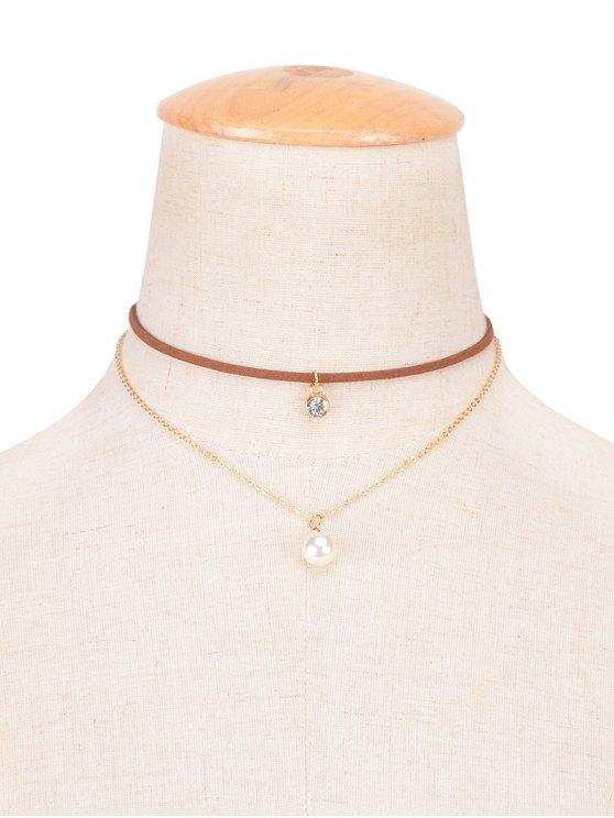 buy Rhinestone Faux Pearl Layered Choker - BROWN