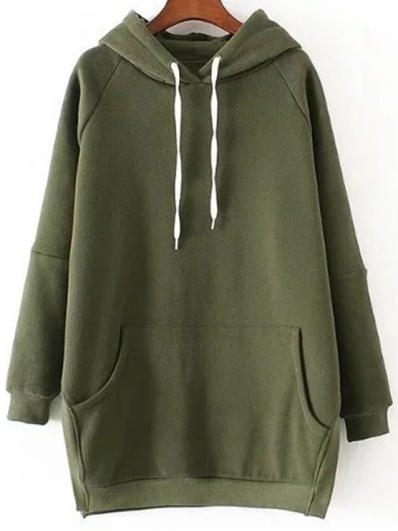 new Loose Side Slit Hoodie - GREEN M