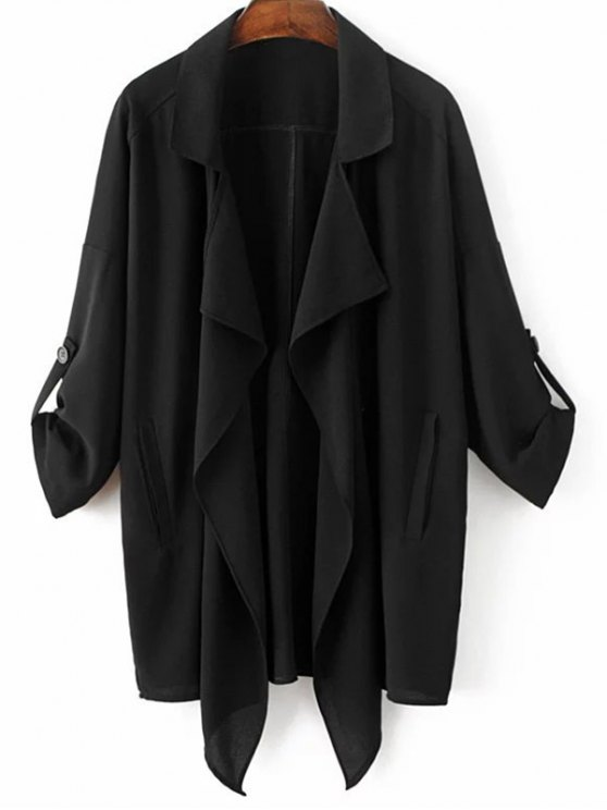 Asymmetric Buttoned Trench Coat - BLACK M Mobile