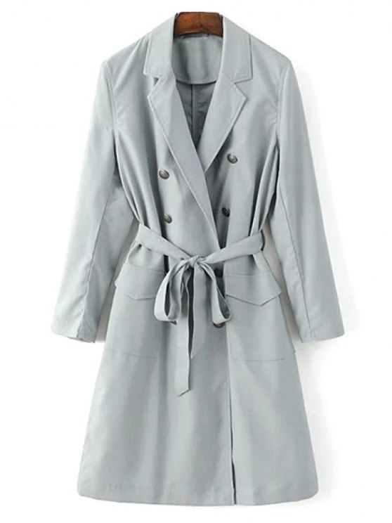 Lapel Collar Belted Trench Coat - LIGHT GRAY S Mobile