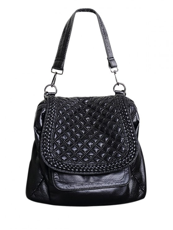 trendy Plaid Pattern PU Leather Magnetic Closure Backpack - BLACK