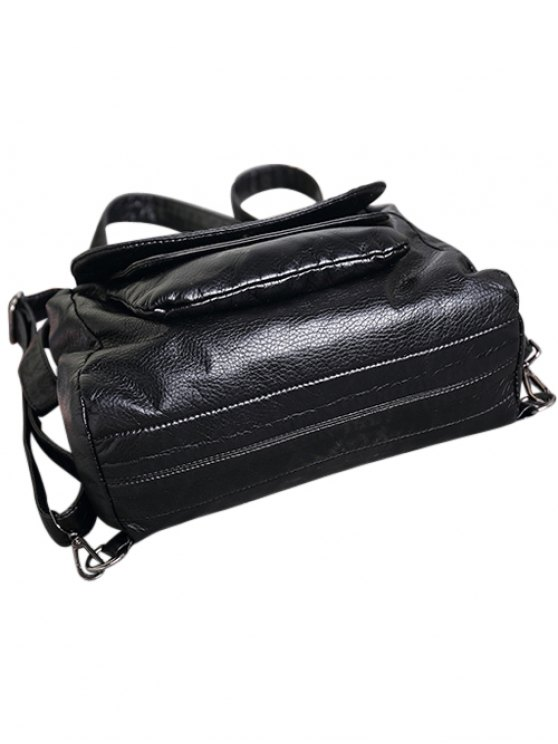 Plaid Pattern PU Leather Magnetic Closure Backpack - BLACK  Mobile