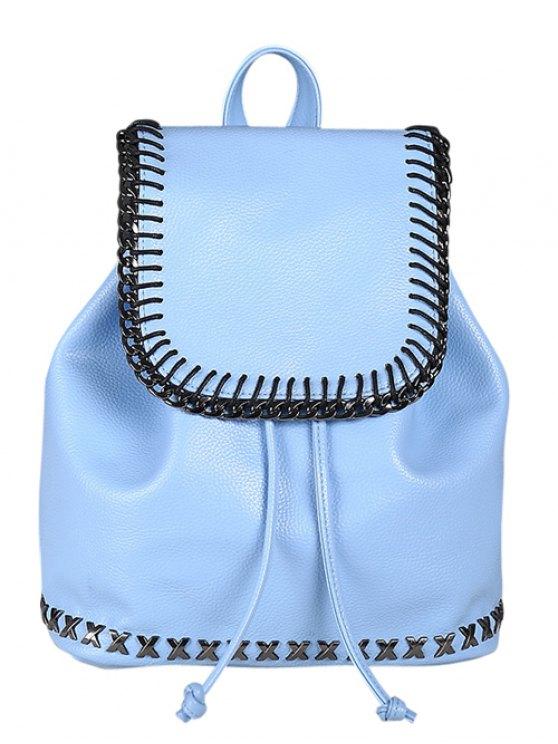 String Magnetic Closure Metal Backpack - AZURE  Mobile