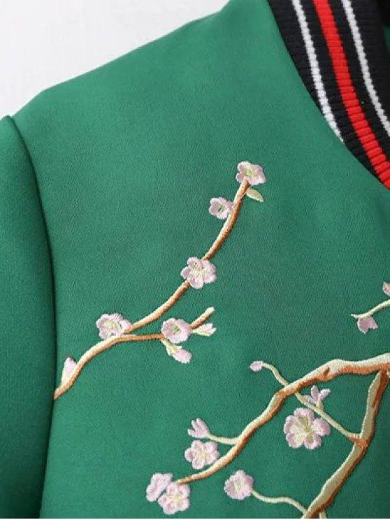 Flower Embroidery Bomber Jacket - BLACK L Mobile