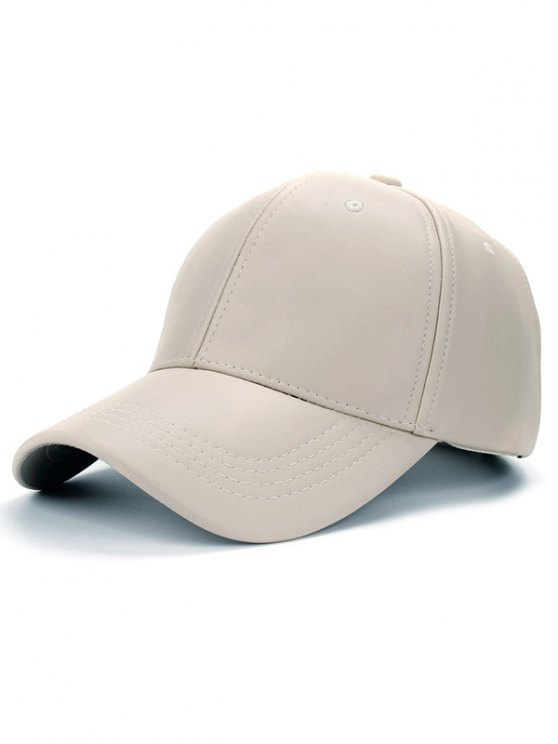 Smooth Faux Leather Baseball Hat - OFF-WHITE  Mobile