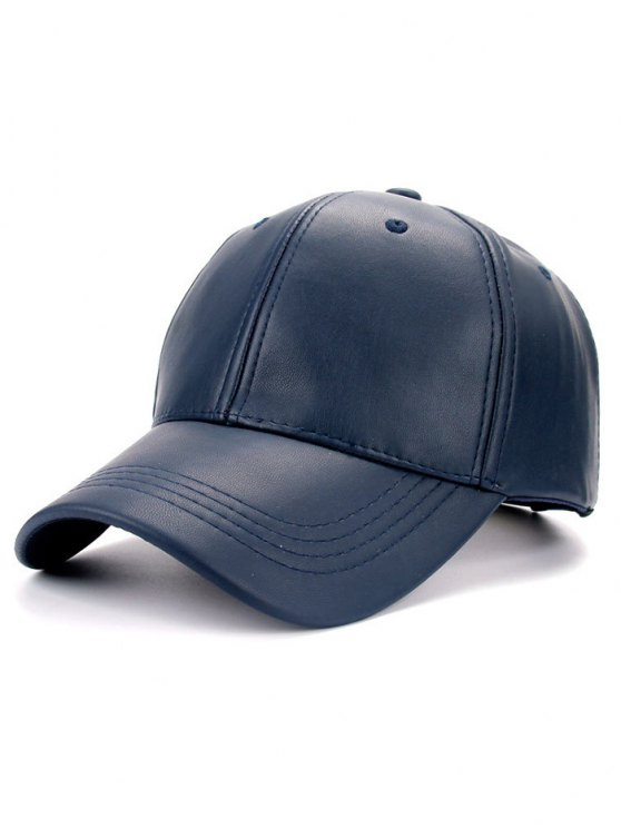 Smooth Faux Leather Baseball Hat - CADETBLUE  Mobile