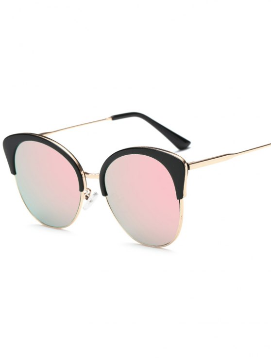 hot Double Rims Mirrored Butterfly Sunglasses - PINK