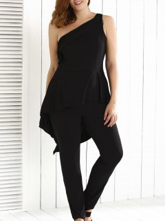 Plus Size One Shoulder Backless Jumpsuit - Black L