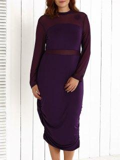 Plus Size Mesh-Insert Ruched Zipper Design Dress - Purple 2xl