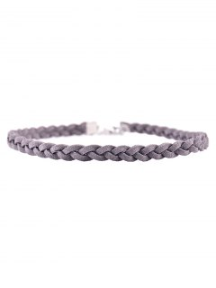 Faux Leather Rope Woven Choker - Gray