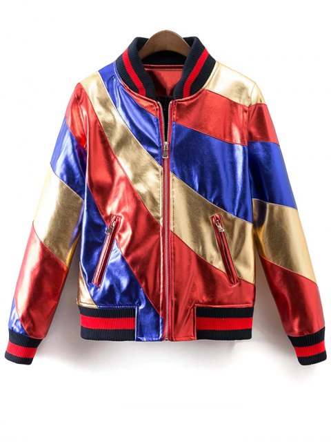 lady Color Block PU Bomber Jacket - MULTI L Mobile