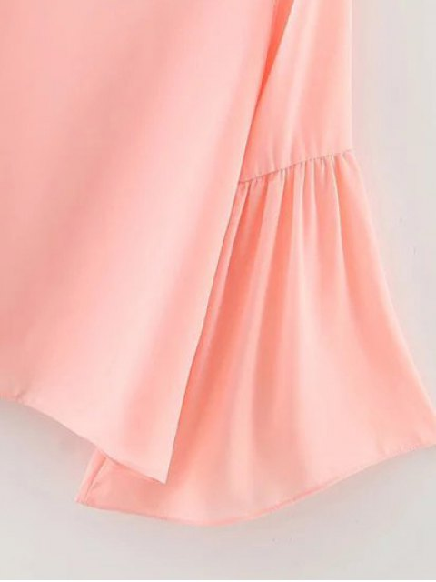 womens Flare Sleeve Loose Chiffon Blouse - PINK L Mobile