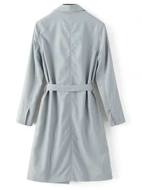 shops Lapel Collar Belted Trench Coat - LIGHT GRAY S Mobile