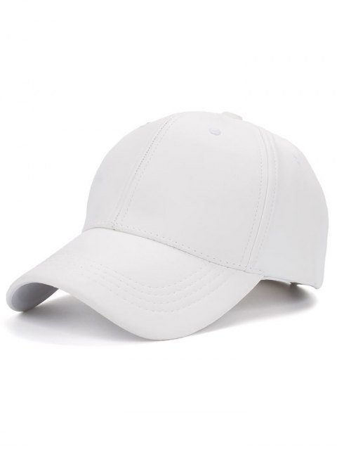 shops Smooth Faux Leather Baseball Hat - WHITE  Mobile