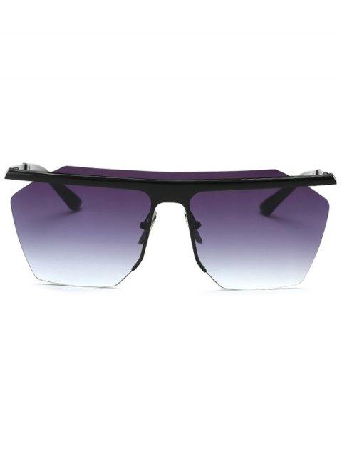 shop Rimless Cut Out Square Sunglasses - BLACK  Mobile