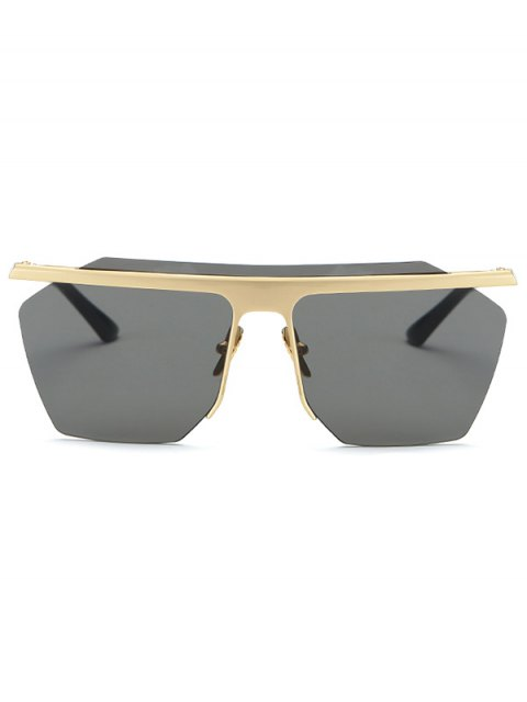 shops Rimless Cut Out Square Sunglasses - GOLDEN  Mobile