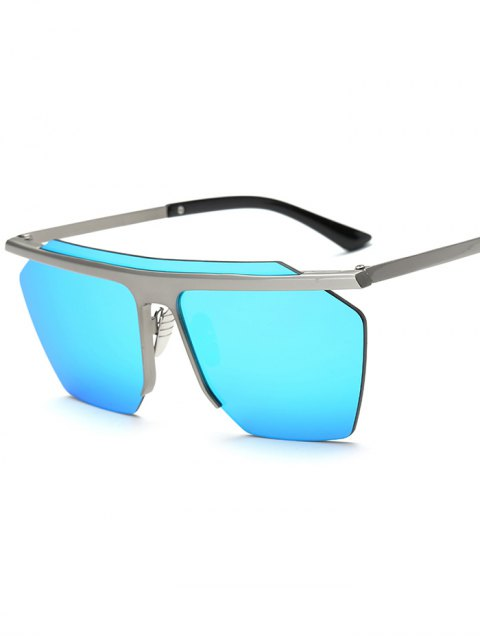 trendy Rimless Mirrored Square Sunglasses - LIGHT BLUE  Mobile