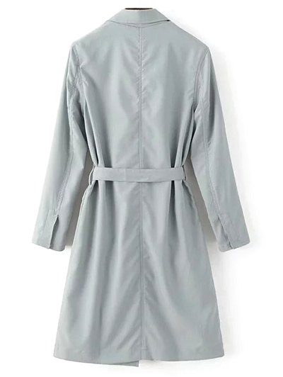 Lapel Collar Belted Trench Coat - LIGHT GRAY L Mobile