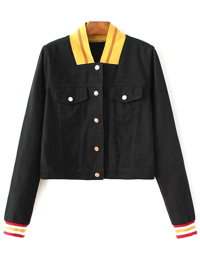 Color Block Stand Neck Bomber Jacket - Black