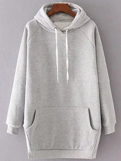 Loose Side Slit Hoodie - Gray