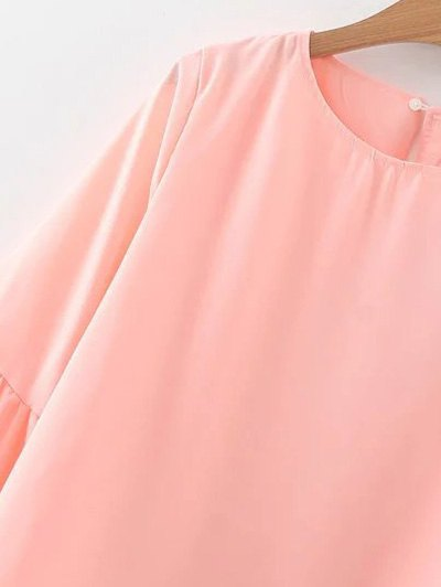 Flare Sleeve Loose Chiffon Blouse - PINK L Mobile