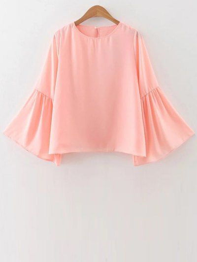 Flare Sleeve Loose Chiffon Blouse - Pink