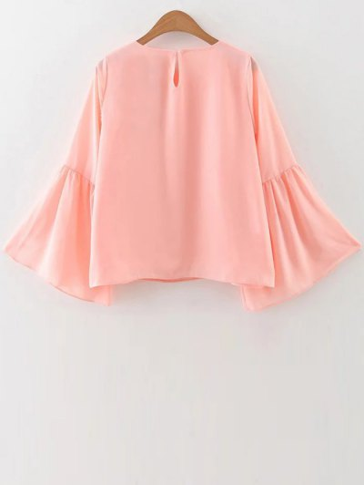 Flare Sleeve Loose Chiffon Blouse - PINK M Mobile