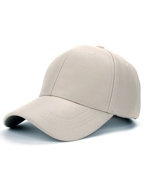 Smooth Faux Leather Baseball Hat - Off-white