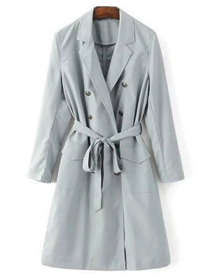 Lapel Collar Belted Trench Coat - Light Gray