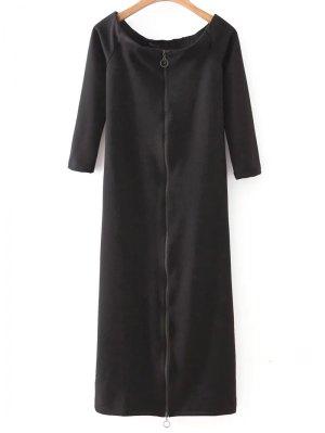 Off The Shoulder Back Zip Up Dress - Black