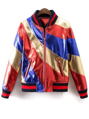 Color Block PU Bomber Jacket
