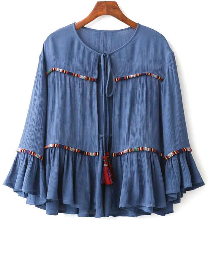Round Neck Flare Sleeve Blouse