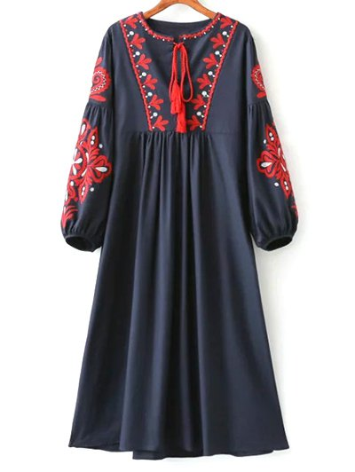Round Neck Lantern Sleeve Embroidered Dress