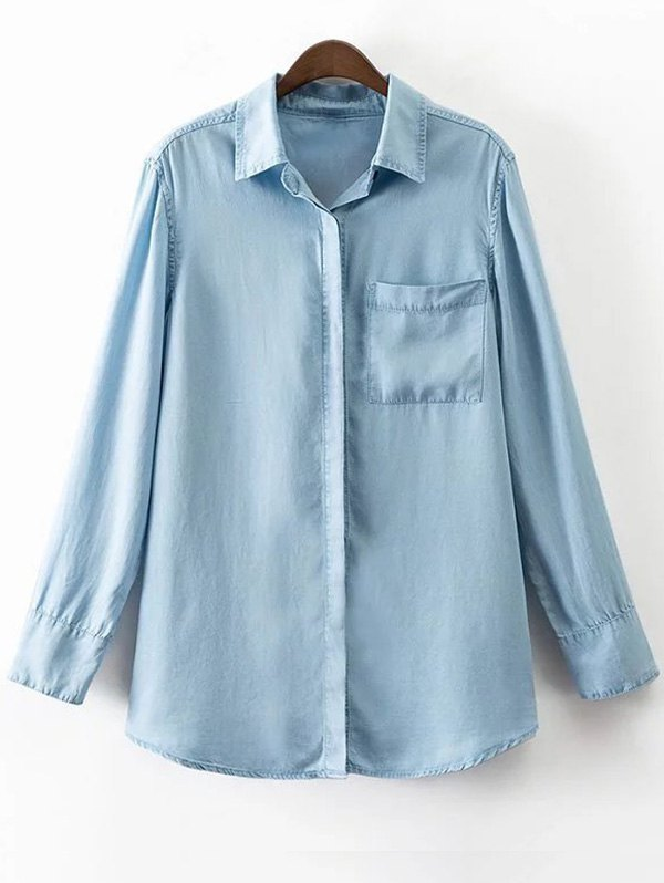 Shirt Collar Long Sleeve Pocket Denim Shirt
